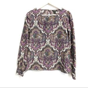 J.Crew purple paisley printed blouse | size small